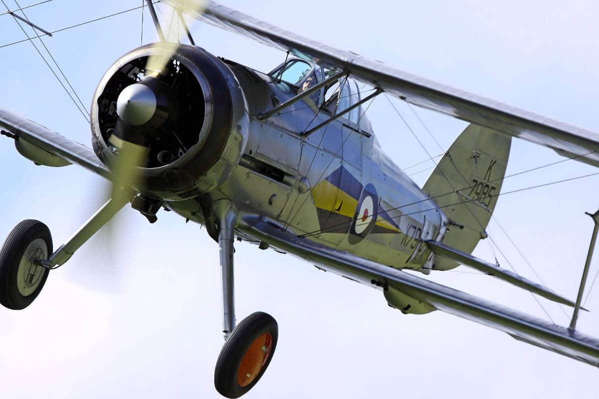 World War 2 era fighter plane, a Gloster Gladiator Mark 1 in Flight.