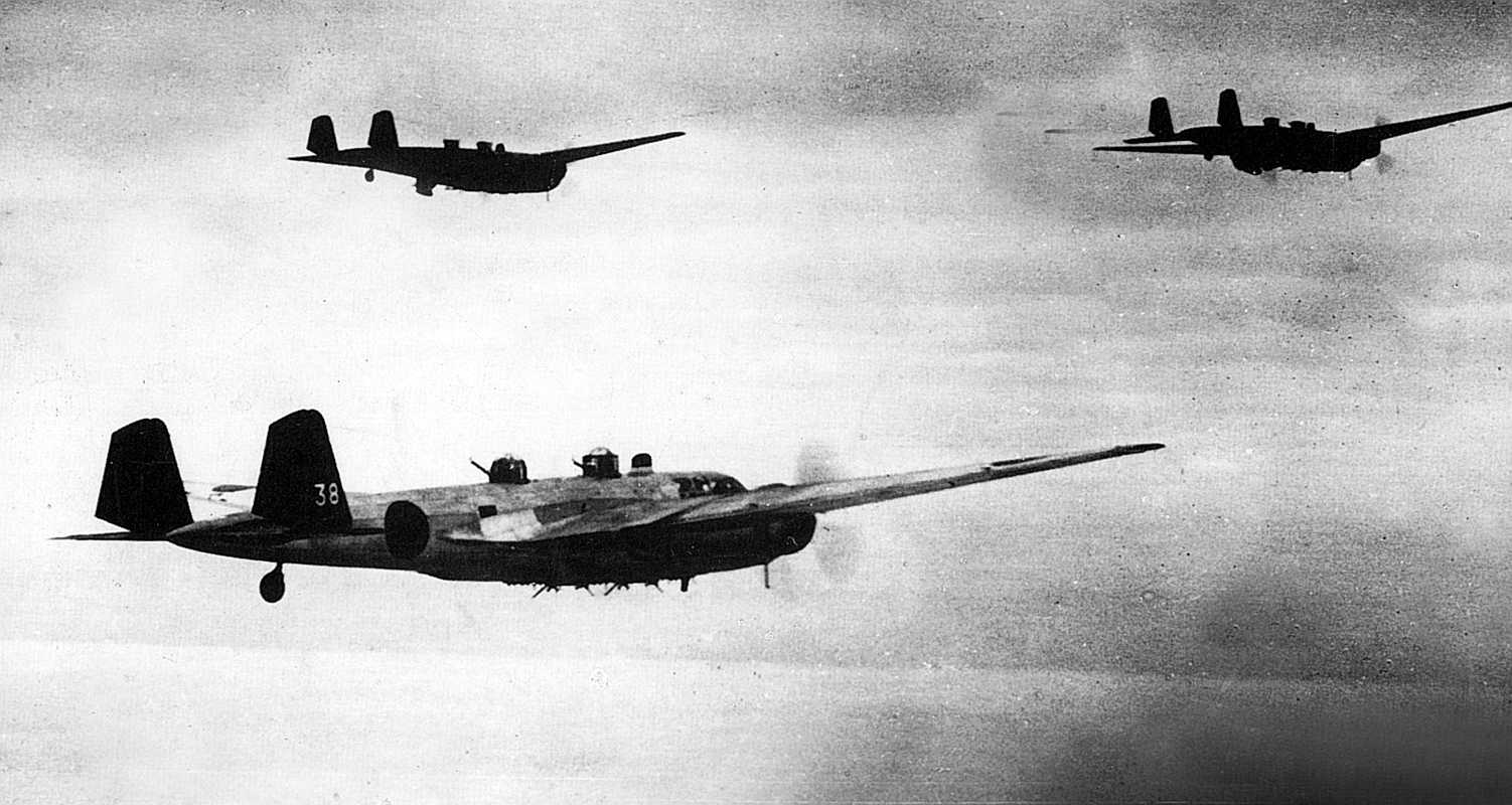 Japanese Navy Mitsubishi G3M1 bombers, used during World War 2.