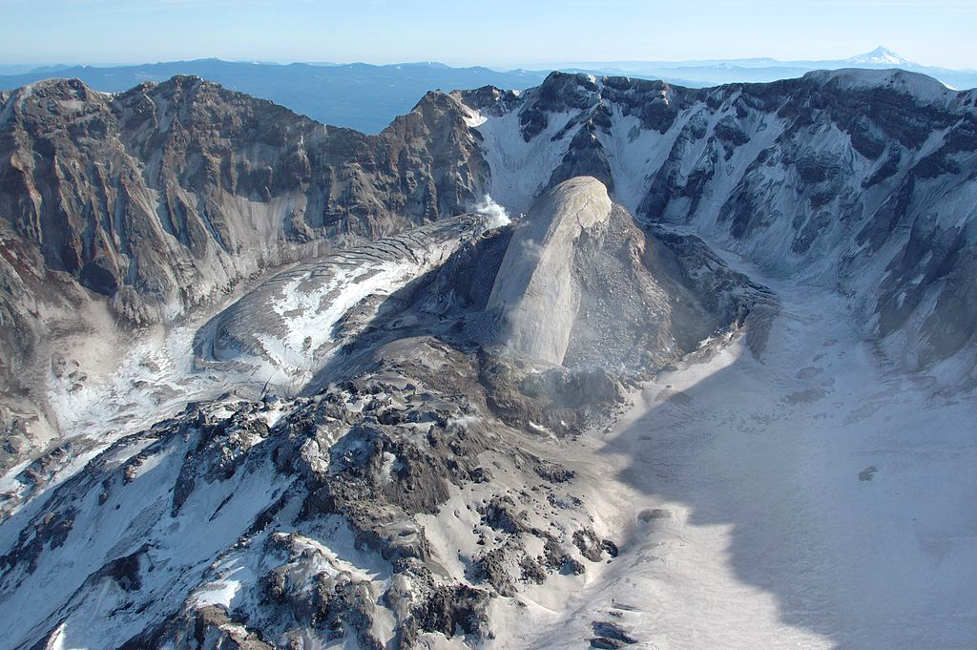 An aerial view of the Mount St. Helens crater in 2005, a great fly over view for private pilots.