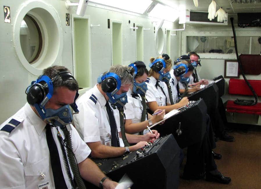 Photo of airline pilots in a hypoberic chamber - aviation medicine