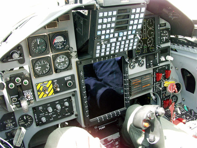 The cockpit of a T-38 Talon trainer aircraft.