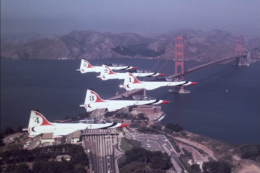 A group of T-38 Talon aircraft flying in formation.