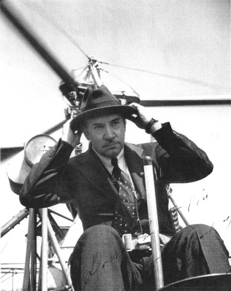 Igor Sikorsky getting ready to fly his first helicopter with a successful configuration.