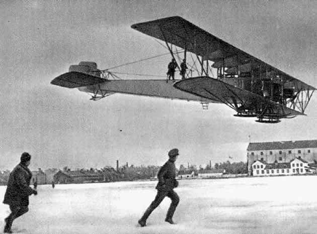 A biplane engineered by Igor Sikorsky, nicknamed Le Grande, in flight in Russia.