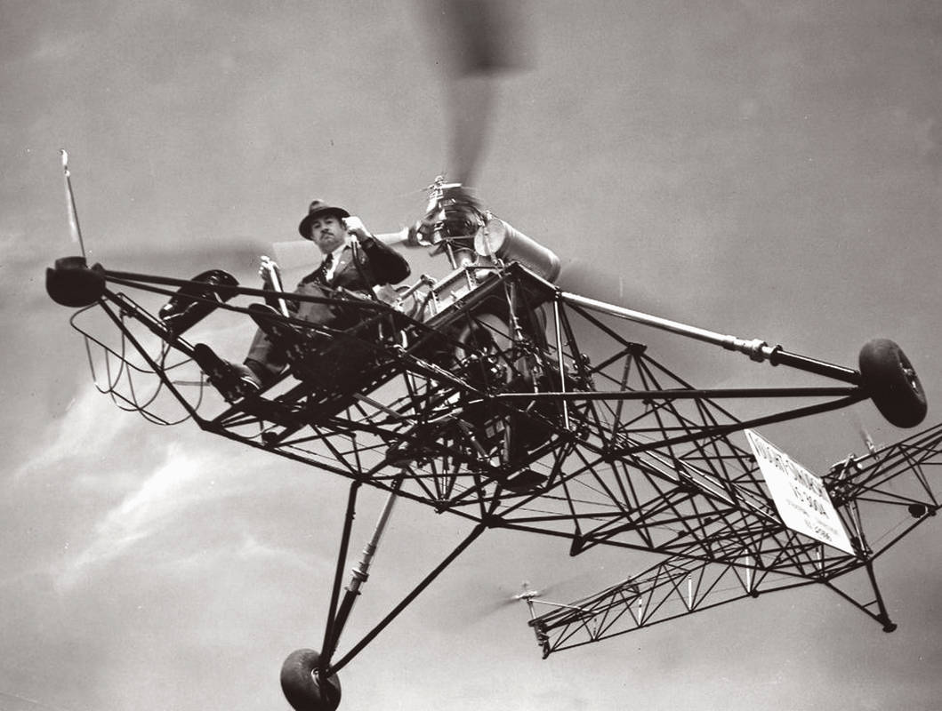 Igor Sikorsky flying the VS300, his first helicopter with a successful configuration.