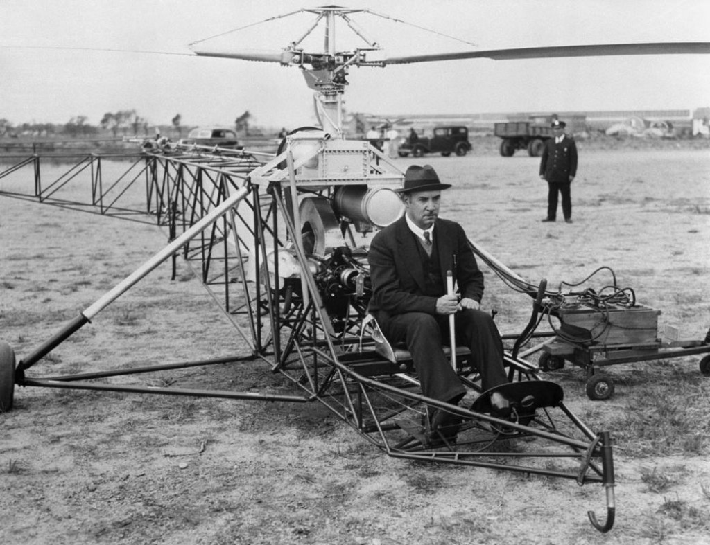 Igor Sikorsky preparing to fly the VA300, his first helicopter with a working configuration.