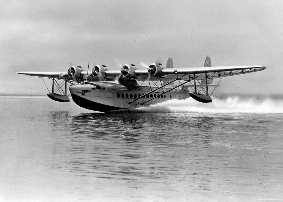 Igor Sikorsky's S-42 Pan Am Clipper taking off in the 1930s.