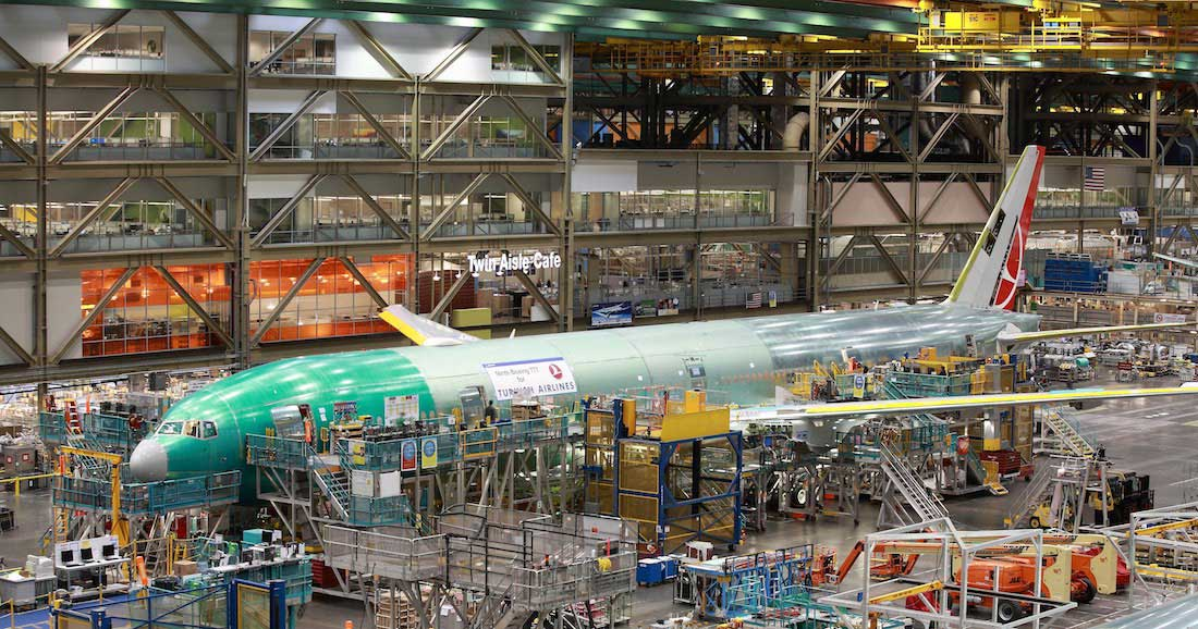 A photo from the Boeing Factory Tour, in the Boeing factory located at Paine Field.