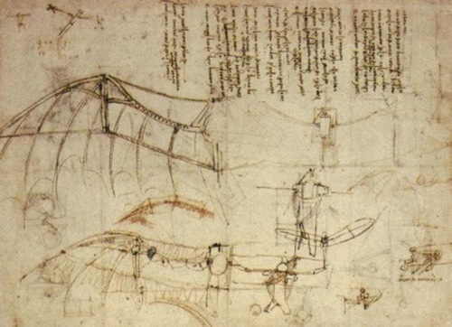 Design for one of da Vinci's flying machines. - Learn How to Fly an Airplane