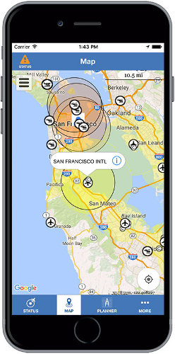 Screenshot of the B4Ufly app, for helping unmanned aerial systems and the UAS Operator avoid collisions with aircraft