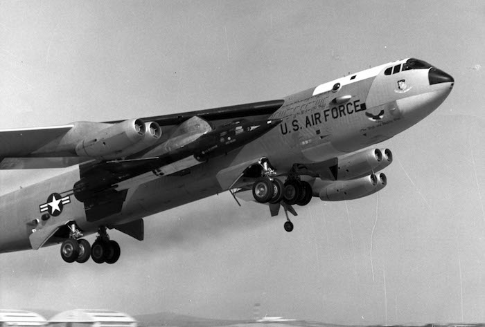 The B-52 taking off with the X-15 mounted to it, with test pilot Scott Crossfield