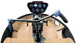Inside of a Robinson R22 Helicopter cockpit.