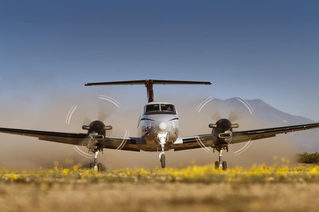 A Beechcraft King Air 350 on the runway