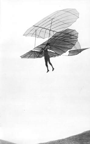 Otto Lilienthal during a test glide