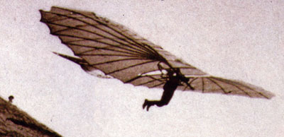 Otto Lilienthal flying in a glider.