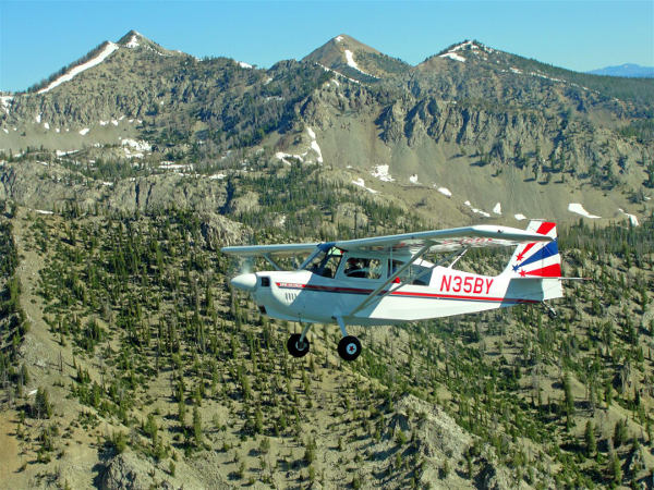 A private pilot flying an American Champion Decathlon in the backcountry