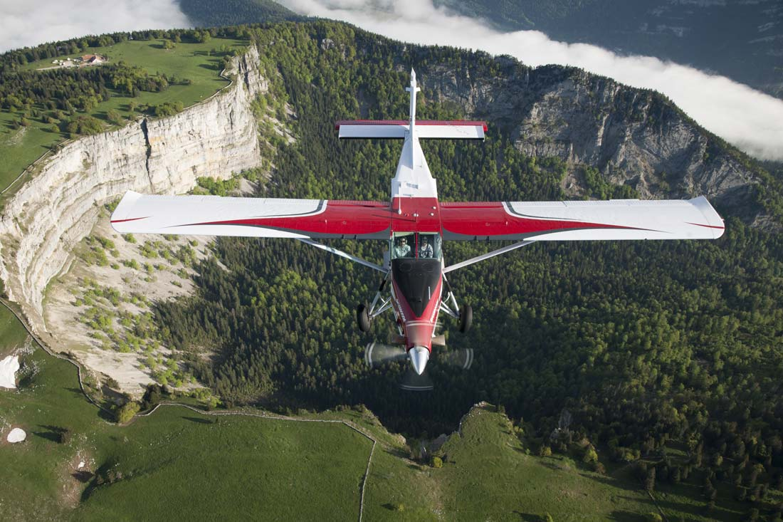 A Pilatus PC-6 Porter in flight over Switzerland