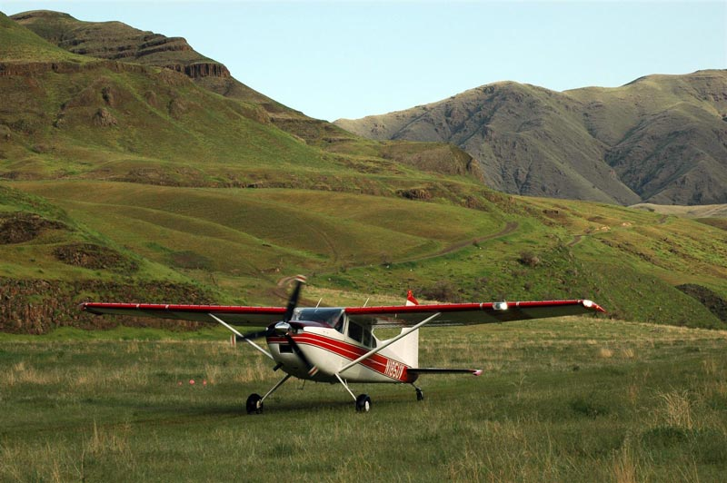 A Cessna 185 Skywagon landing at Dug Bar in the backcountry