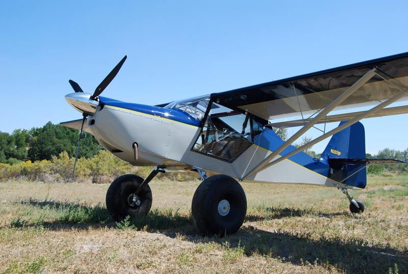 Kitfox airplane on a grass airstrip