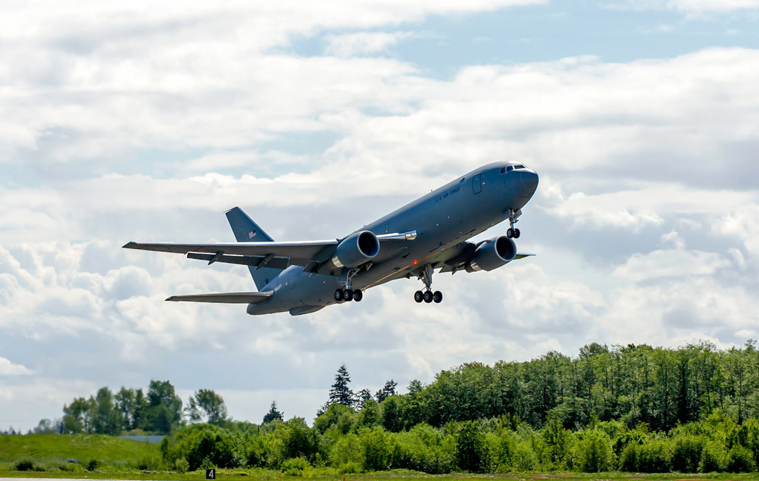 A 727-2C, part of the Boeing KC-46 test fleet, taking off for its first test flight