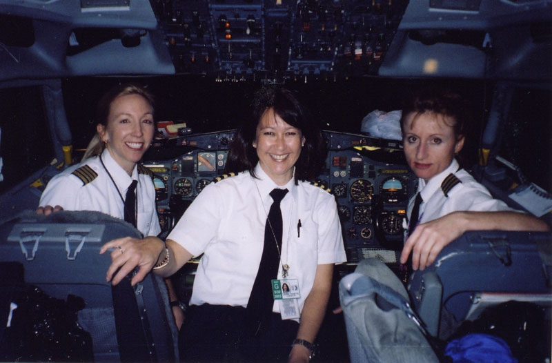 All Chick crew in the Boeing 727 cockpit