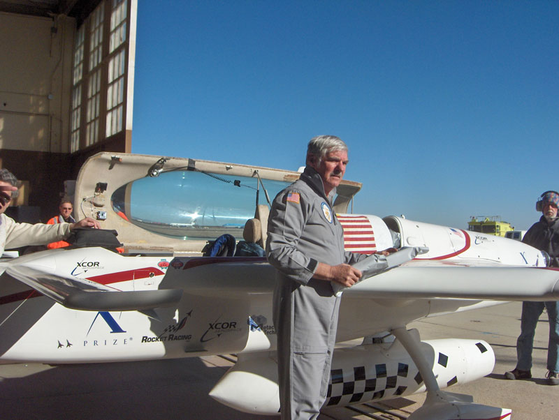 Dick Rutan getting ready to test the XCOR rocket