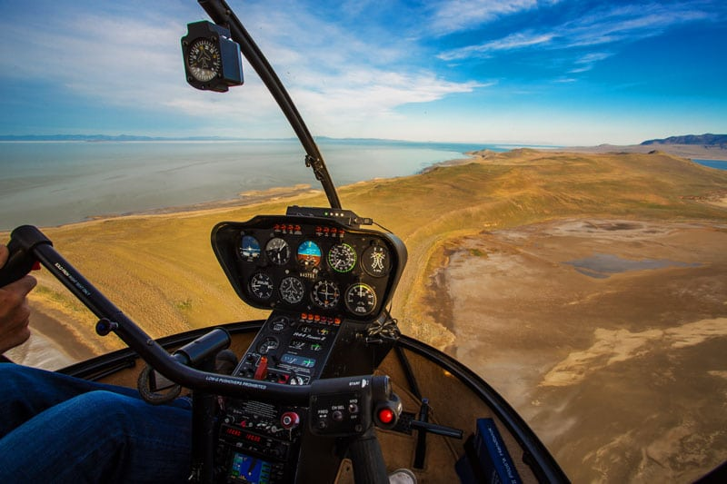 View out the cockpit of the Robinson R44 Helicopter
