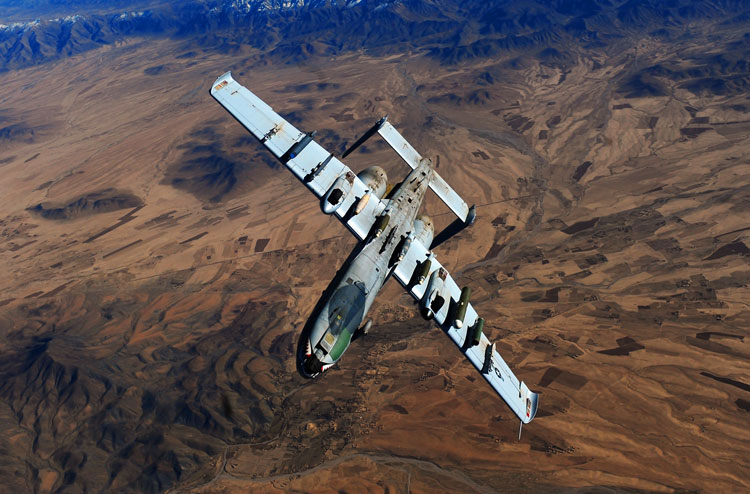 A-10 Thunderbolt II, or A-10 Warthog, flying above the Afghanistan desert