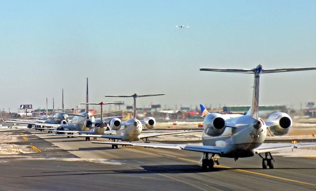 Airliners waiting to take off at JFK Airport - FAA Pays Visit To JFK Airport To Test FBI Drone Detection System