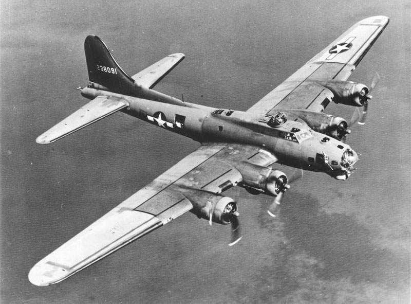 The B-17 Flying Fortress on a bombing run
