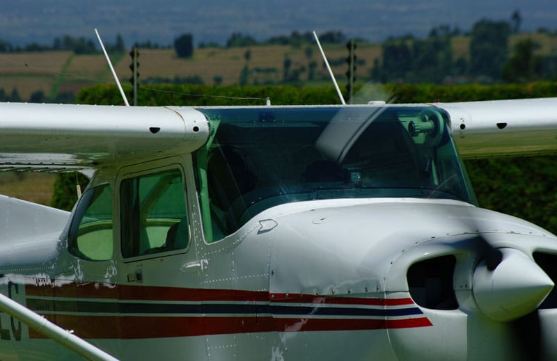 Student pilot and instructor in a Cessna 172 at an East African school of aviation