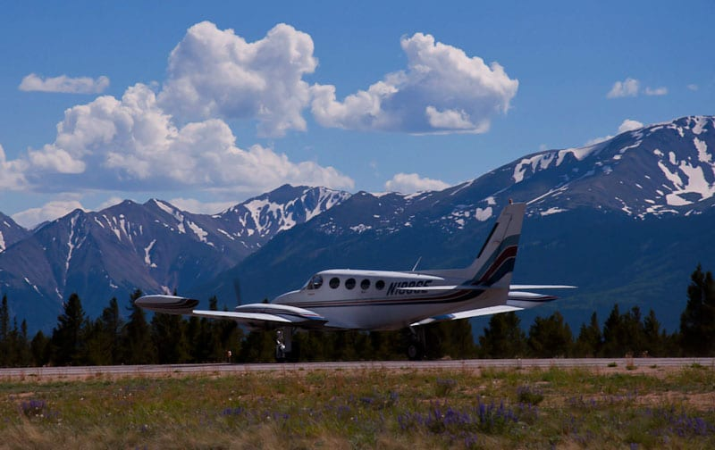 Cessna 340 on a mountain airport runway