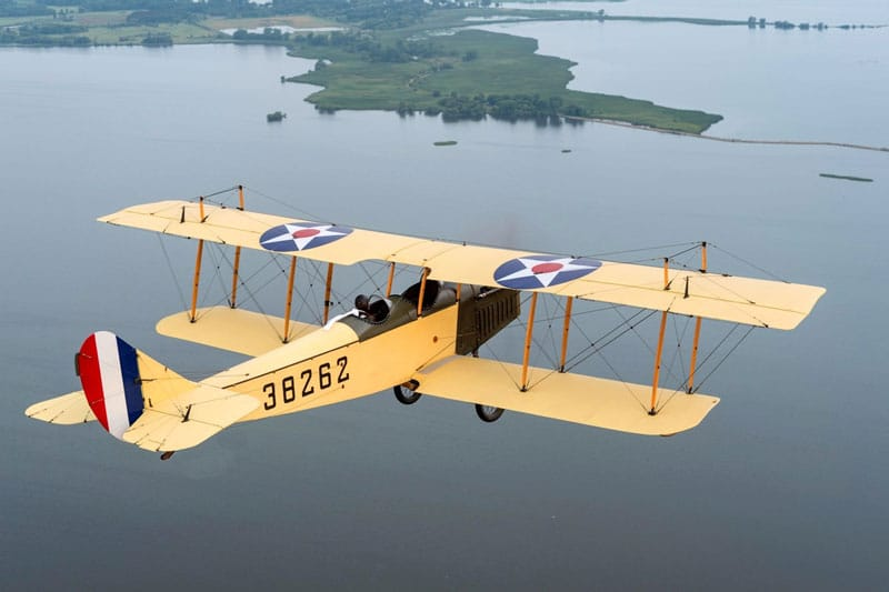 Curtiss JN-4 Biplane in flight, restored by Friends of Jenny