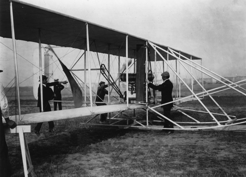 Orville Wright and the Wright Flyer, a key aircraft in aviation history