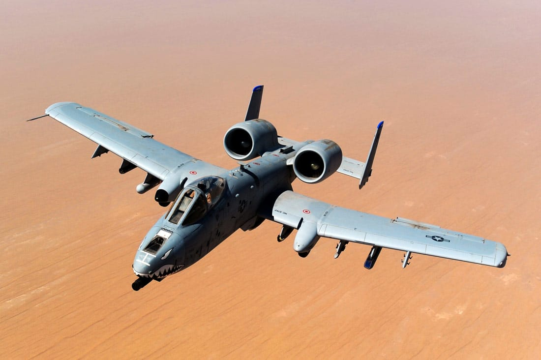 The A-10 Thunderbolt II, or A-10 Warthog, in flight above the Afghanistan desert