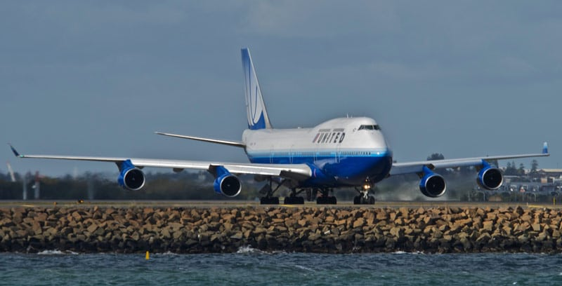 United Airlines Boeing 747 on runway