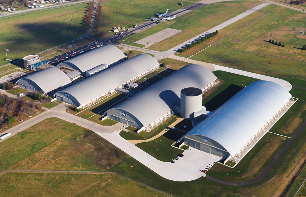 An aerial view of the Air Force Museum near Dayton, Ohio