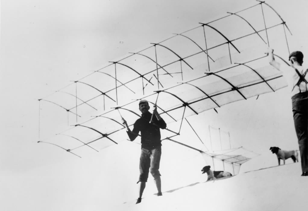 The Chanute-Herring Biplane glider, developed by Octave Chanute and Augustus Herring