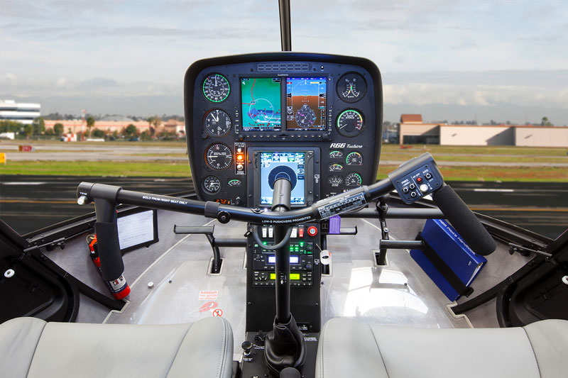 The control panel for a Robinson R66 helicopter.