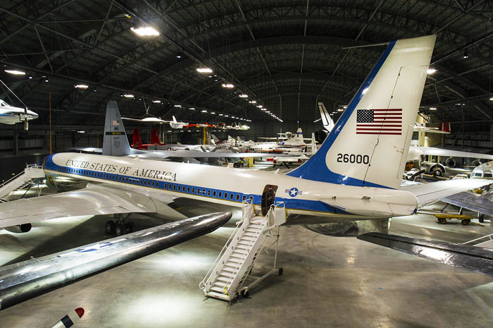 Photo of Sam 26000, Air Force One for eight presidents, on display at the Air Force museum near Dayton, Ohio