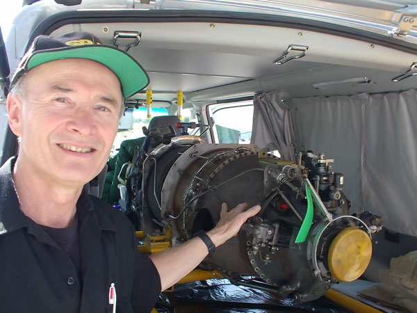 Steve Wightman and the turbine engine for his Super Seawind aircraft