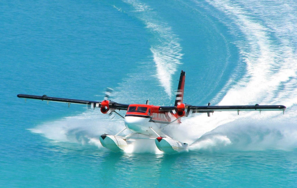 A DHC-6 aircraft on the water - Lithium Ion Aircraft Battery Receives TCCA Certification for Twin Otter