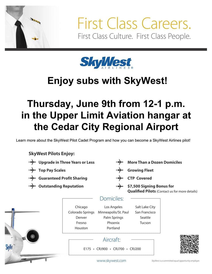 Flyer for the upcoming SkyWest career day event with Upper Limit Aviation