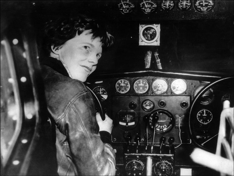 Amelia Earhart in the cockpit