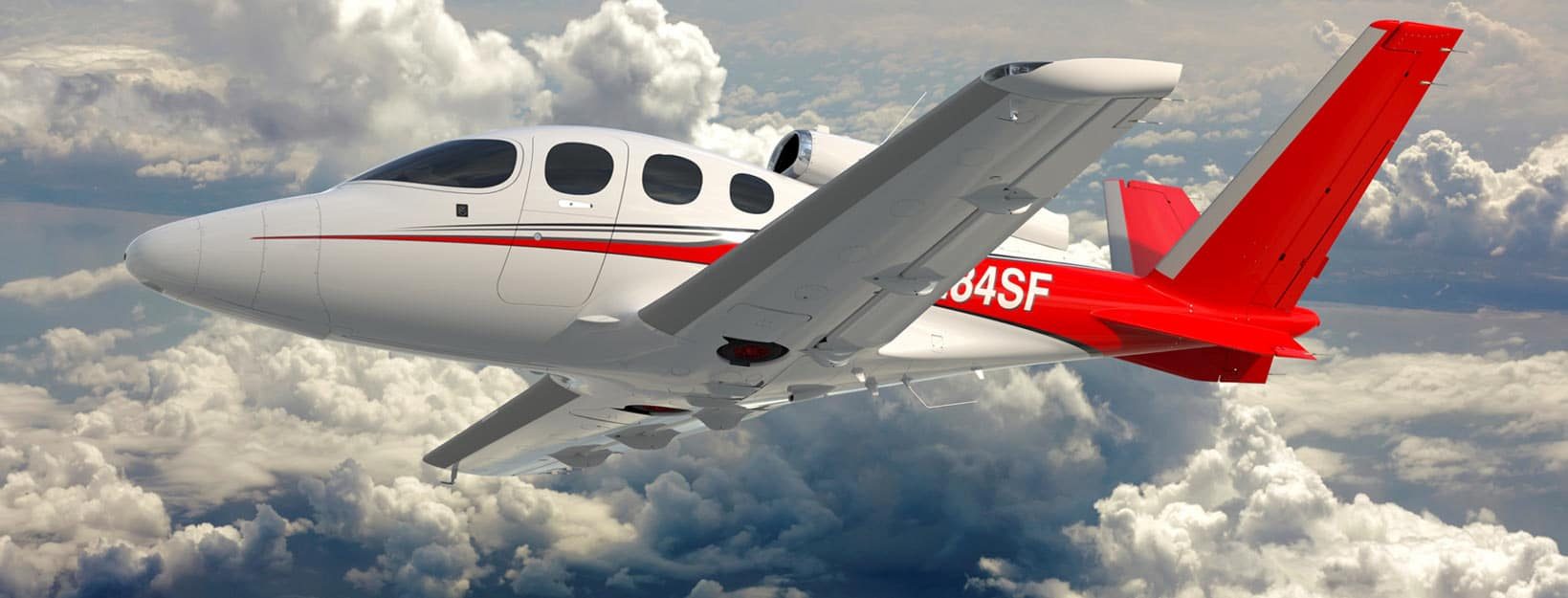 The Cirrus Vision SF50 Jet in flight