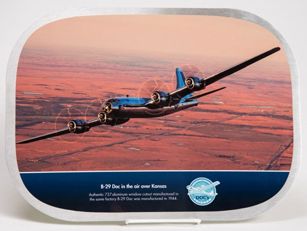 Commemorative cutout of restored B-29 Superfortress Doc in flight
