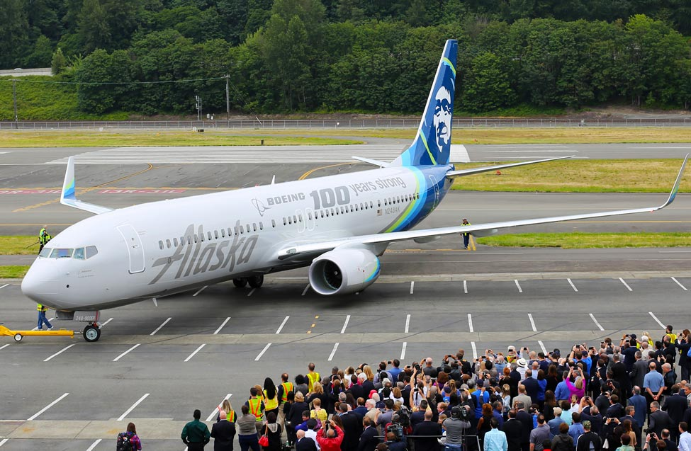 An Alaska Airlines 737 specially painted to celebrate Boeing's 100th birthday