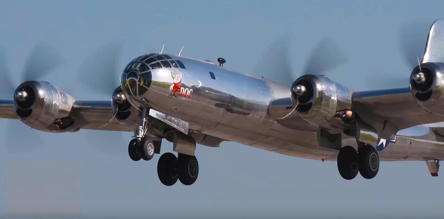 Restored B-29 Superfortress Doc on a first test flight