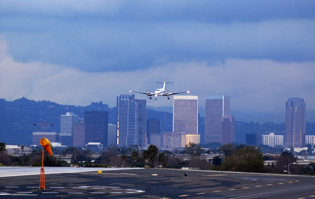Airplane landing at Santa Monica Airport