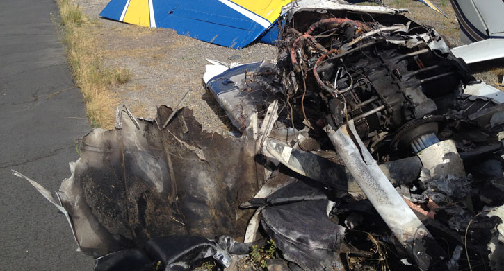 Charred wreckage of a Cessna 172